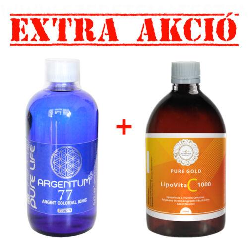 ARGENTUM+ 77 - kolloid ezüst-ion oldat 480 ml + LipoVit C 1000 folyékony liposzómás C vitamin 500 ml
