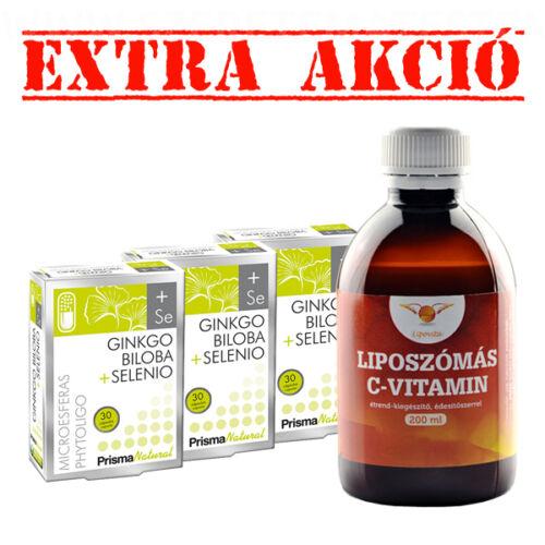 Ginkgo Biloba + Selenio - 3 x 30 db + LipoVita folyékony liposzómás C vitamin 200 ml