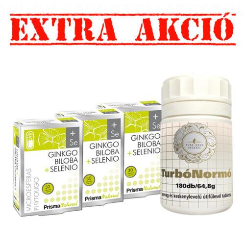 Ginkgo Biloba + Selenio - 3 x 30 db + TurbóNormó béltisztító tabletta 180 db