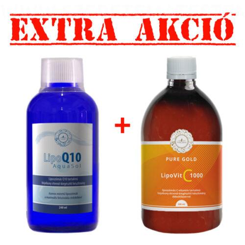 LipoQ10 Aqua Sol 240 ml +  LipoVit C 1000 folyékony liposzómás C vitamin 500 ml