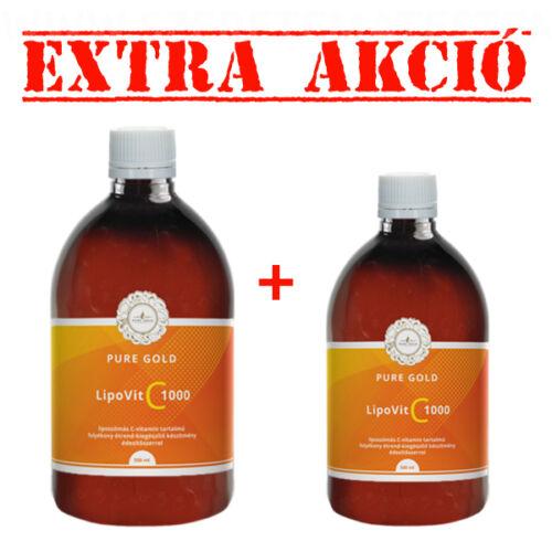 Pure Gold LipoVit C 1000 folyékony liposzómás C-vitamin 500 ml + 250 ml