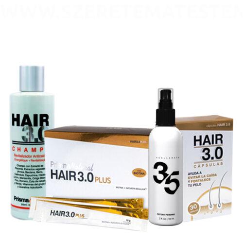 Hair 3.0 hajregeneráló csomag: sampon + kapszula + ivógél + Xcellerate 35 hajregeneráló szérum