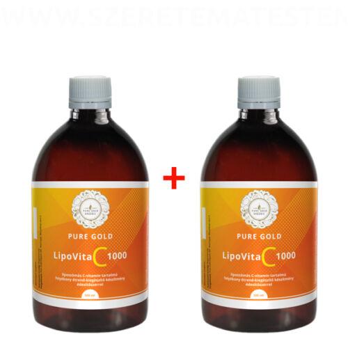 Pure Gold LipoVita C 1000 folyékony liposzómás C vitamin 2x500 ml