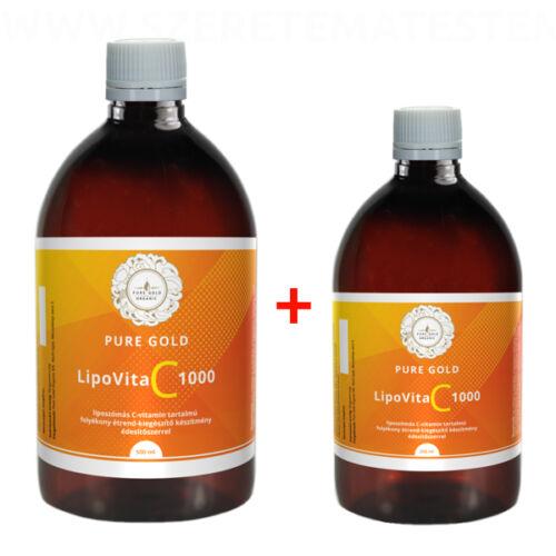 Pure Gold LipoVita C 1000 folyékony liposzómás C-vitamin 500 ml + 250 ml