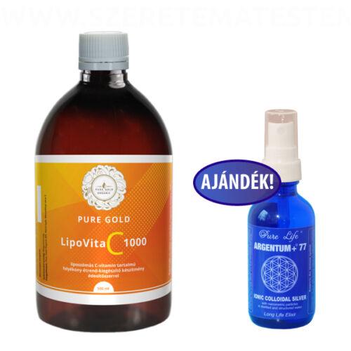 Pure Gold LipoVita C 1000 folyékony liposzómás C vitamin 500 ml + Ajándék Argentum77 60ml-es spray!